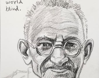 Gandhi, 9x12 inches crayon on paper by Kenney Mencher