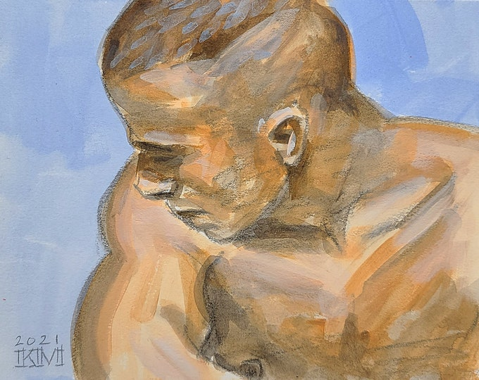 Over the Shoulder, 8x10 inches crayon and watercolor on cotton paper by Kenney Mencher