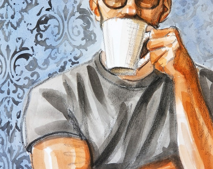 Mister Coffee, watercolor on Rives BFK paper, 11x14 inches by Kenney Mencher