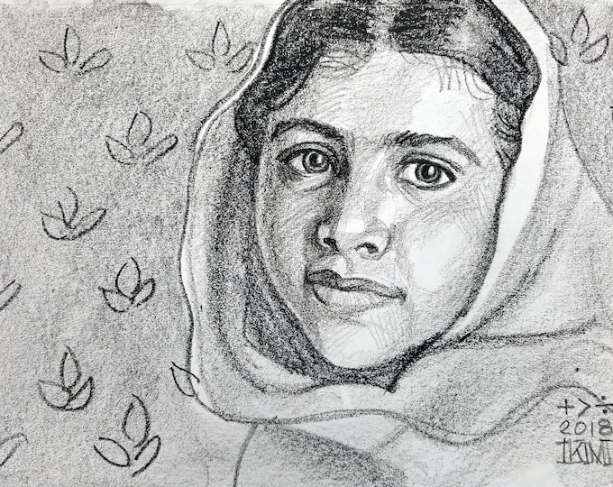 Malala Yousafzai, 9x12 inches, crayon on paper by Kenney Mencher