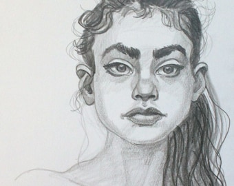 Ella Saw the Future Moving Away, graphite on cotton paper, 9x12 inches  by KennEy Mencher