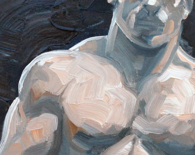 Henry Bare Chested, oil on canvas panel, 9x12 inches by Kenney Mencher