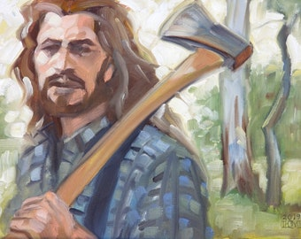 Lumbersexual, oil on canvas panel 11x14 inches by Kenney Mencher