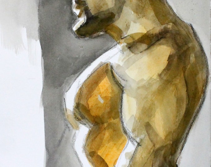 Heavy Lifter, crayon and watercolor on cotton paper, 9x12 inches by KennEy Mencher
