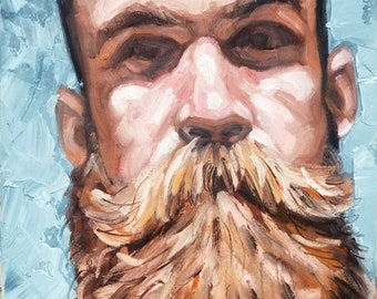 Sarcastic Bearded Bloke, 12x16 inches oil on canvas panel by Kenney Mencher