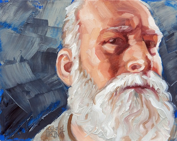 Close Up Paul, oil on canvas panel, 11x14 inches by Kenney Mencher