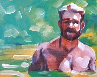 Otter in a Pond, oil on canvas panel, 9x12 inches by Kenney Mencher