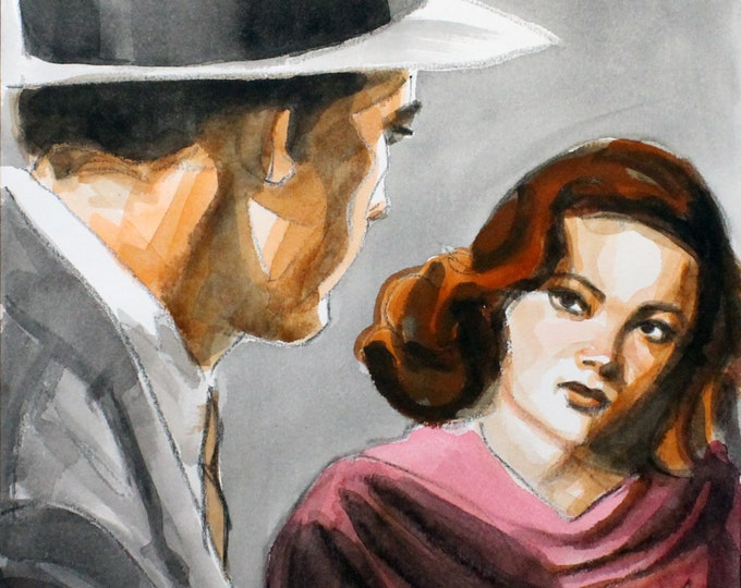 Film Noir Hero, 11x14 inches watercolor on cotton paper, by Kenney Mencher