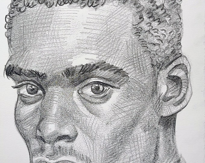 Handsome Young Black Man, 9x12 inches crayon on Rives BFK paper by Kenney Mencher