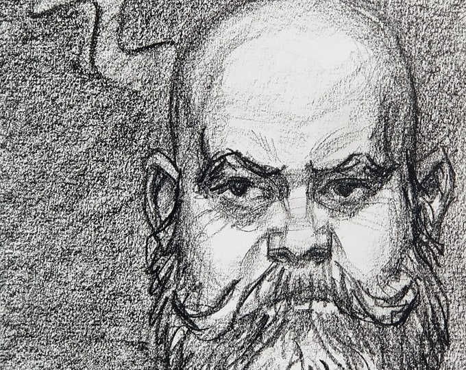 He Thought He was Zeus, crayon on acid free sketchbook paper 9x12 inches by Kenney Mencher