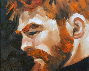 Ginger Bearded Bear Hero in Profile,  10x8 inches oil paint on canvas panel by Kenney Mencher