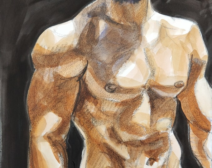 High Protein Diet, crayon and watercolor on Rives BFK paper, 11x14 inches by Kenney Mencher