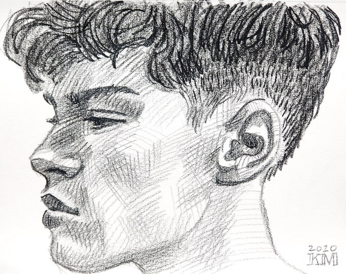 Fade Boy in Profile, 9x12 inches, crayon on paper by Kenney Mencher