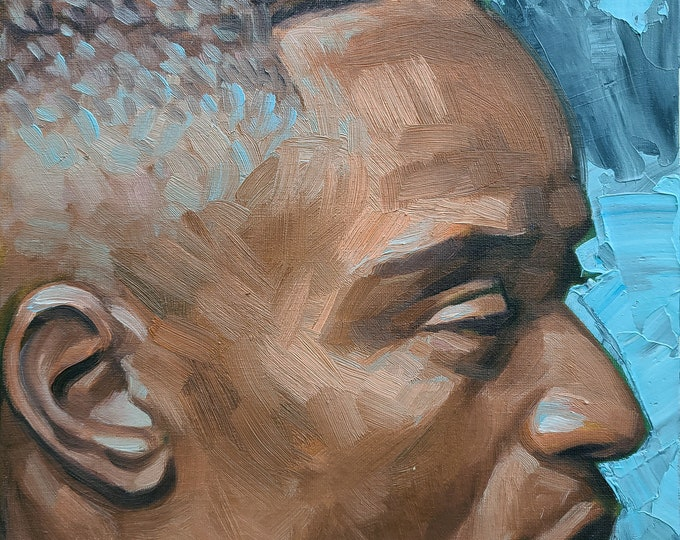 Stunner with Fade Hair and Brown Skin in Profile,  12x16 inches oil on canvas panel by Kenney Mencher