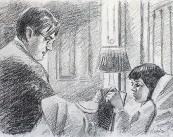 Scout and Atticus, graphite on paper 9x12 inches by Kenney Mencher
