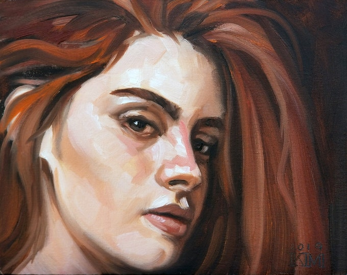Skeptical Brunette,  11x14 inches oil paint on canvas panel by Kenney Mencher