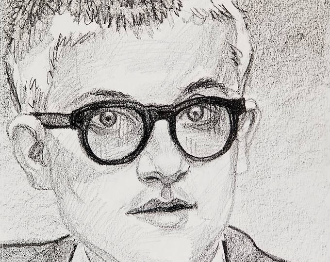 David Hockney, crayon on sketchbook paper 11x14 inches by Kenney Mencher