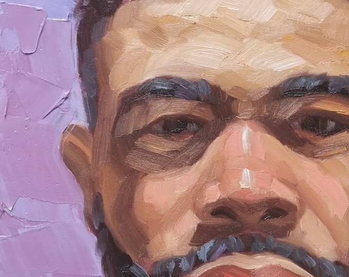 An American, oil on canvas panel, 9x12 inches, by Kenney Mencher