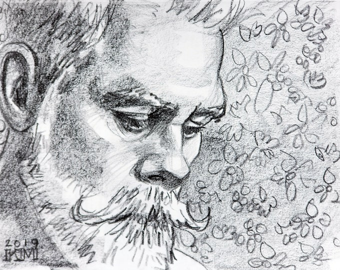 Square White Beard, lithograph crayon on archival sketchbook paper, 9x12 inches by Kenney Mencher