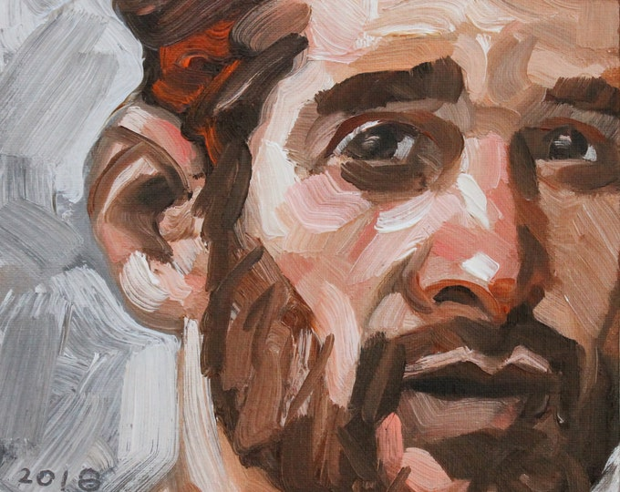 Brunette Bearded Bear, oil on canvas panel, 8x8 inches by Kenney Mencher