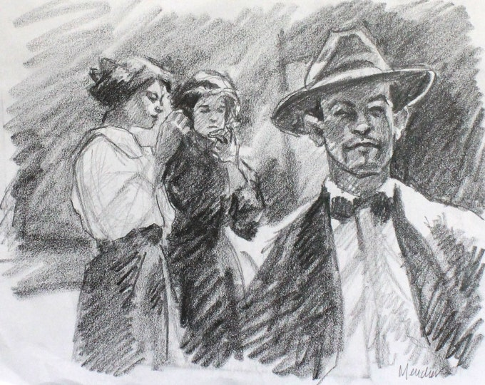 1930's Street, graphite on paper 9x12 inches by Kenney Mencher