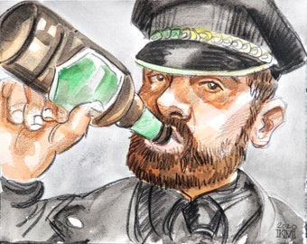 Leather Man Sucking on a Beer, 11x14 inches watercolor on Rives BFK paper by Kenney Mencher