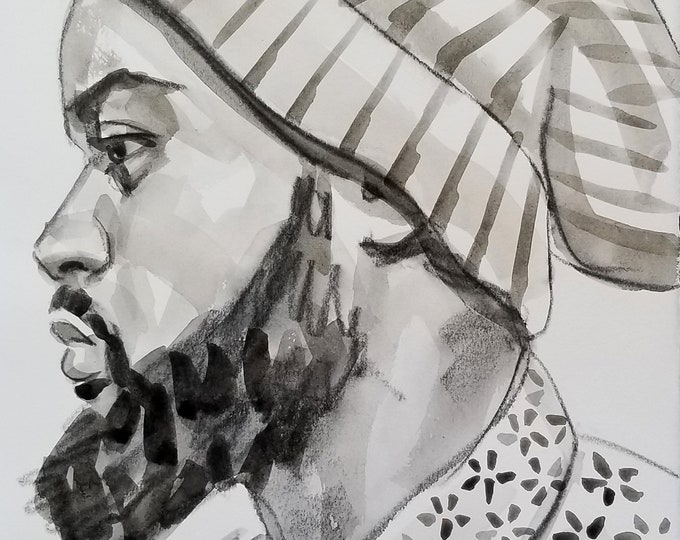 Black Man in Profile With a Handsome Beard and a Beanie, watercolor and crayon on Rives BFK, 11x14 inches by Kenney Mencher