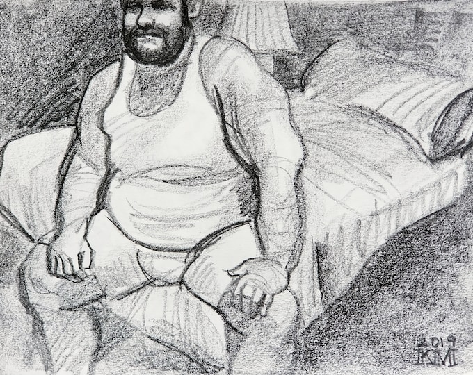 Bear in His Underwear Seated on a Hotel Bed, lithograph crayon on archival sketchbook paper, 9x12 inches by Kenney Mencher