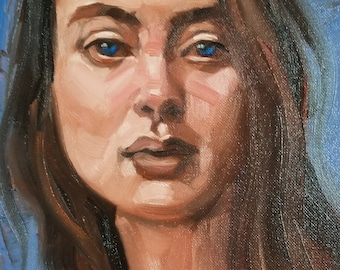 Serious Young Woman, 11x14 inches oil on canvas panel by Kenney Mencher
