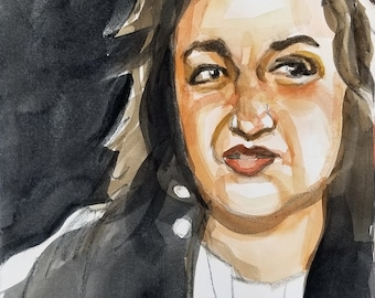 Betty Friedan, 11 x14 inches, watercolor and crayon on cotton paper by Kenney Mencher