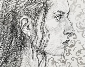 She Lived Her Life as if in a Romance Novel, 9x12 inches crayon on paper by Kenney Mencher