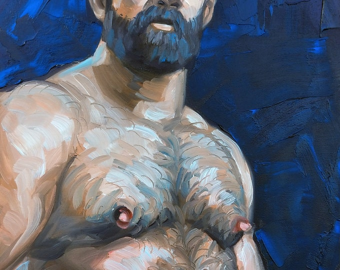 Poster Print, Monumental Hairy Bear Man with Great Hair, by Kenney Mencher