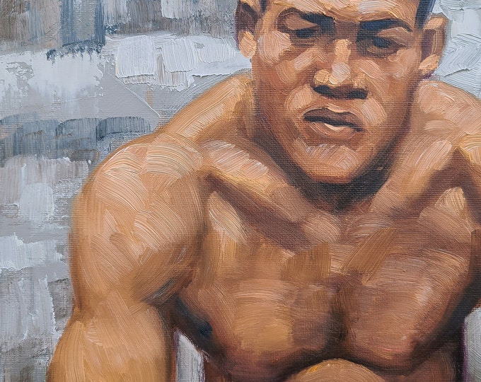 Joe Louis, The Brown Bomber, 9x12 inches oil paint on canvas panel by Kenney Mencher