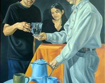 The Water Carrier of Fremont, 36x48 inches oil on gallery stretched canvas by Kenney Mencher