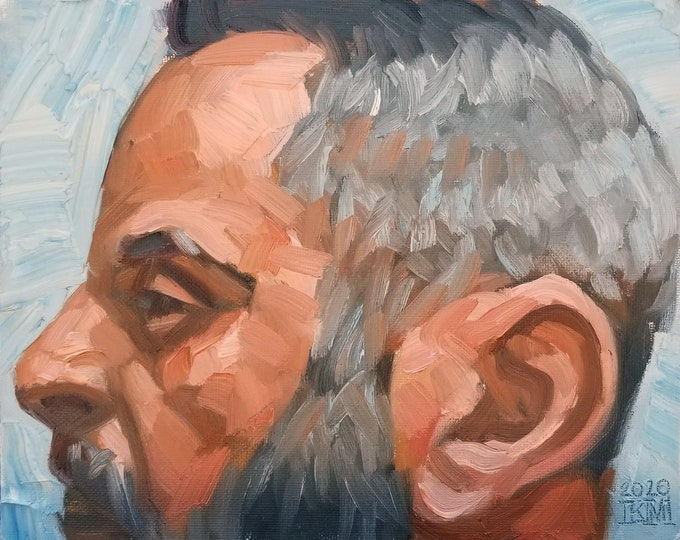Silver Decagon in Profile, oil on canvas panel, 8x10 inches by Kenney Mencher