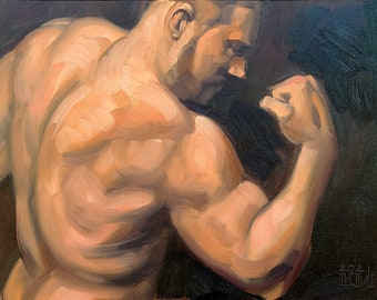 Show Off, 12x16 inches oil on canvas panel by Kenney Mencher in collaboration with photographer Vincent Keith