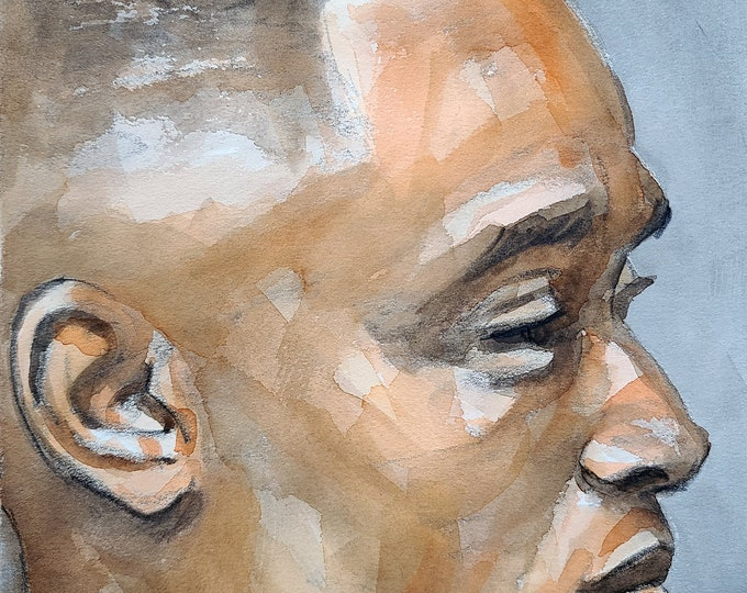 Stunner with Fade Hair and Brown Skin in Profile,  9x12 inches crayon and watercolor on Rives BFK paper by Kenney Mencher