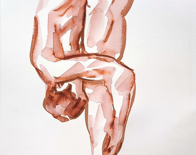 Yoga, watercolor on sketchbook paper 9x12 inches by Kenney Mencher