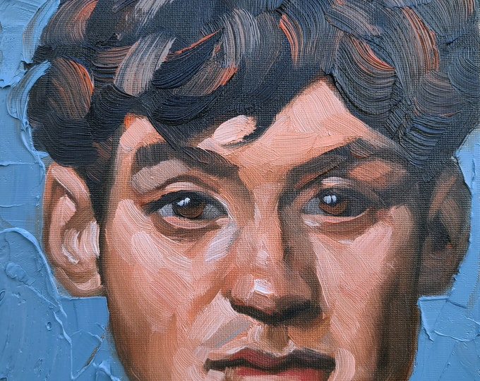 Soulful Young Man, 10x8 inches oil paint on canvas panel by Kenney Mencher