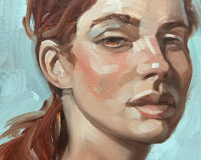 Sarcastic Young Woman,  oil on canvas panel, 11x14 inches by Kenney Mencher