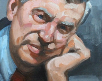 Fred Rogers, 11x14 inches,  oil on canvas panel by Kenney Mencher