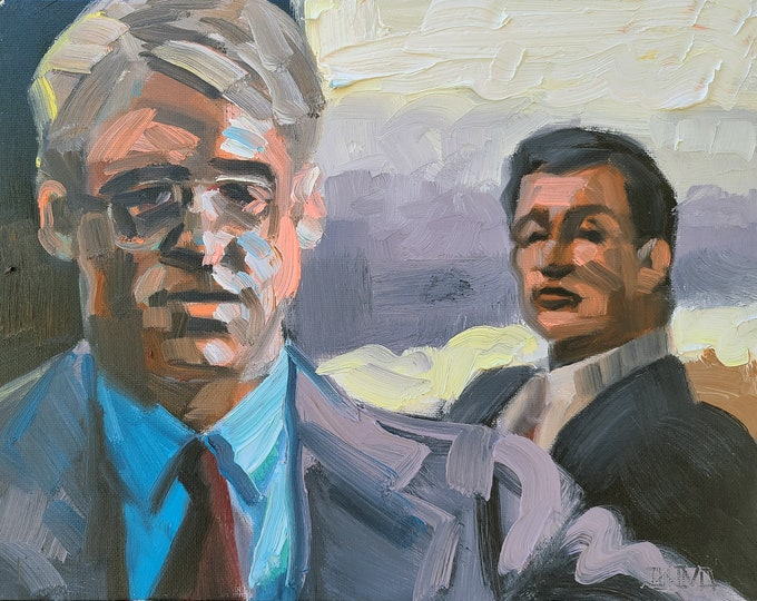 Deal Makers, 9x12 inches oil on canvas panel by Kenney Mencher