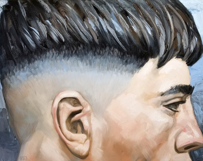 Young Man with a Fade, 36x48 inches oil on stretched canvas, by Kenney Mencher