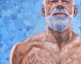 Monumental Silver Fox, 36x48 inches oil on gallery stretched canvas, by Kenney Mencher