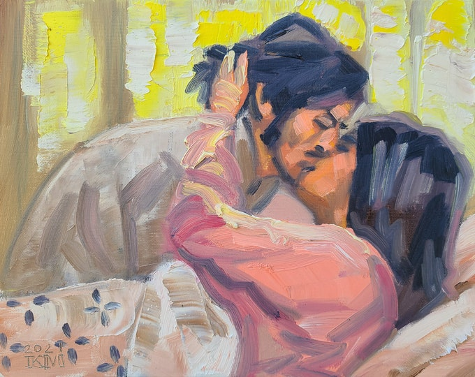 Mid Day Lovers, 9x12 inches oil on canvas panel by Kenney Mencher
