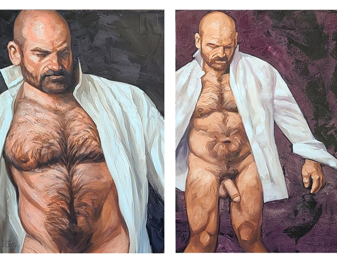 Dress Shirt Diptych, 24x36 inches oil on canvas panel by Kenney Mencher in collaboration with Vincent Keith