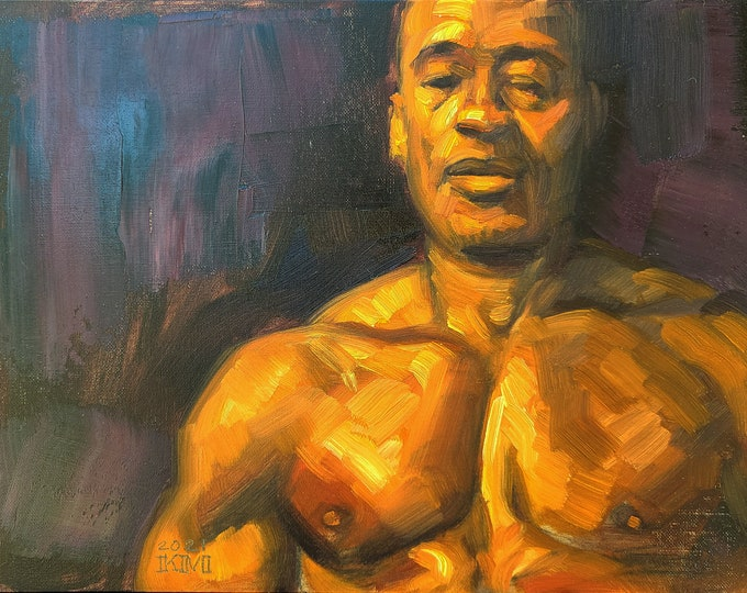 Still Ripped in Middle Age, 12x16 inches oil on canvas panel by Kenney Mencher in collaboration with Vincent Keith