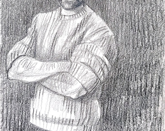 He Really Liked to Pose, 9x12 inches crayon on paper by Kenney Mencher in collaboration with Vincent Keith