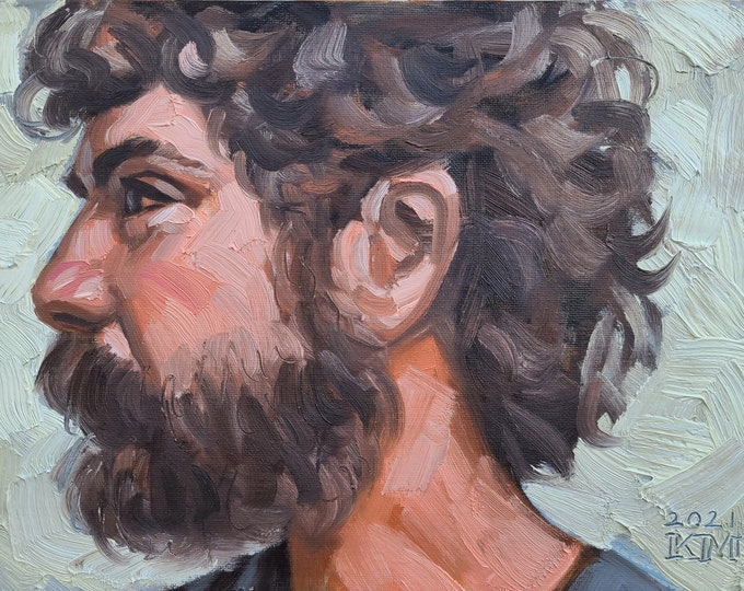 Bohemian with a Pony Tail and Beard in Profile, 9x12 inches oil paint on canvas panel by Kenney Mencher