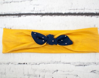 TODDLER Mustard Yellow, Blue Bow Jersey Knit Knotted Headband Headwrap Head Wrap